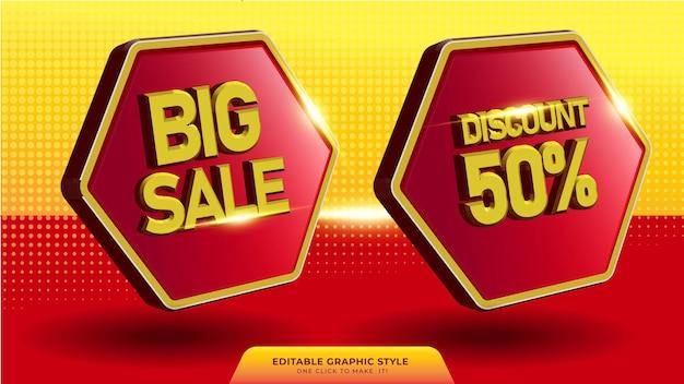 3d-verkoopbanner in 3d-stijl