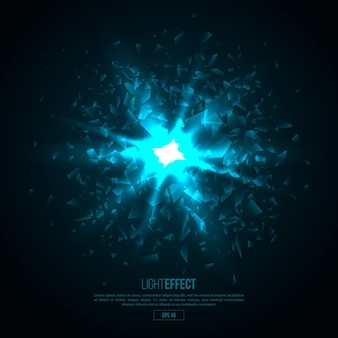 3d verlichte abstracte explosie, gloeiende deeltjes.