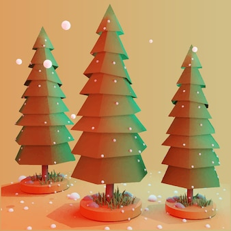 3d versierde kerstboom met sneeuw prettige kerstdagen en gelukkig nieuwjaar 3d render stijl vector
