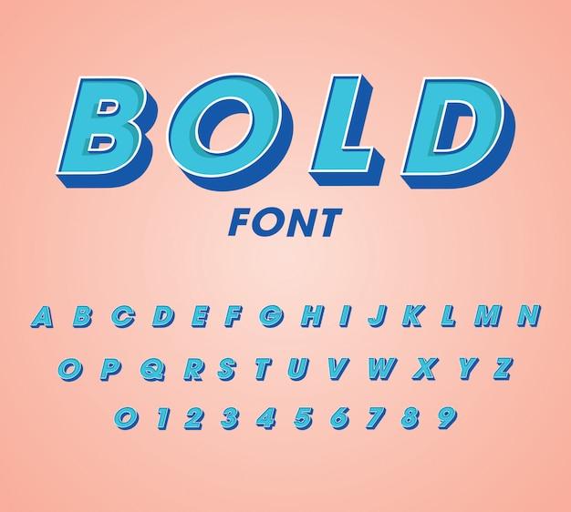 3d vetgedrukte lettertypen