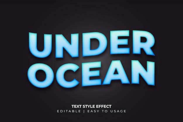 3d-vetgedrukte stijlstijleffect met blauw verloop en golvende stijl