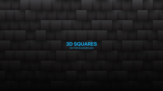 3d vierkanten wetenschap conceptuele technologie minimalistisch zwart