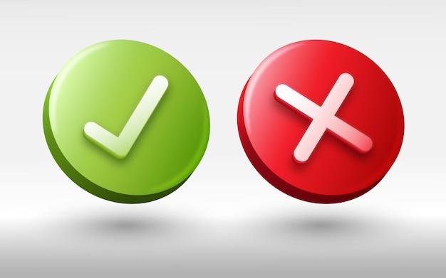 3d vinkje en kruis pictogram illustratie ja en nee knop ontwerp