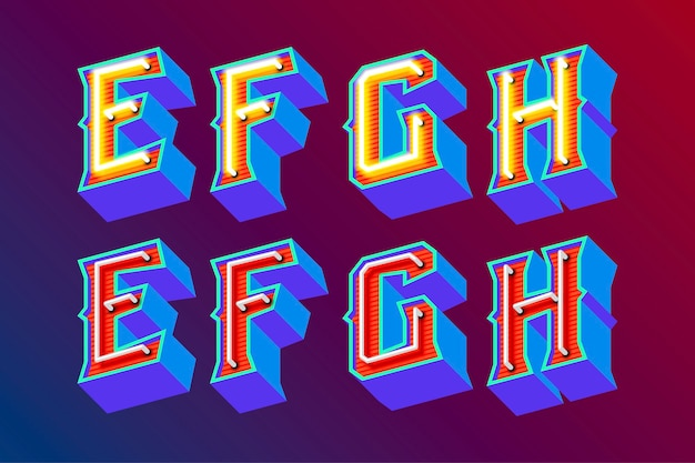 3d vintage letters met fluorescerende neonlichten en aan / uit-schakelaarmodus