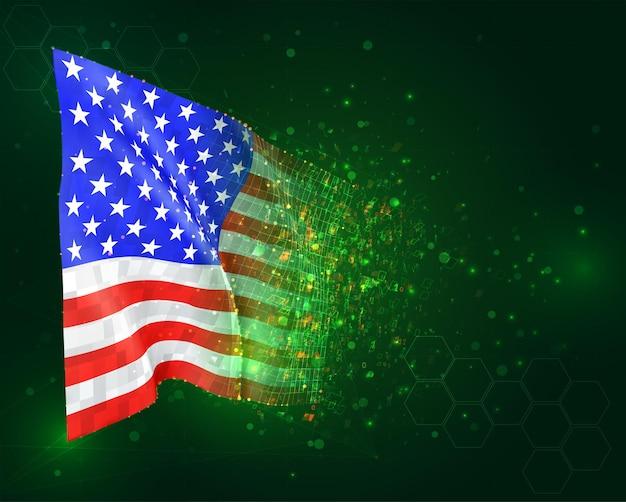 3d-vlag van de vs op groene achtergrond met veelhoeken