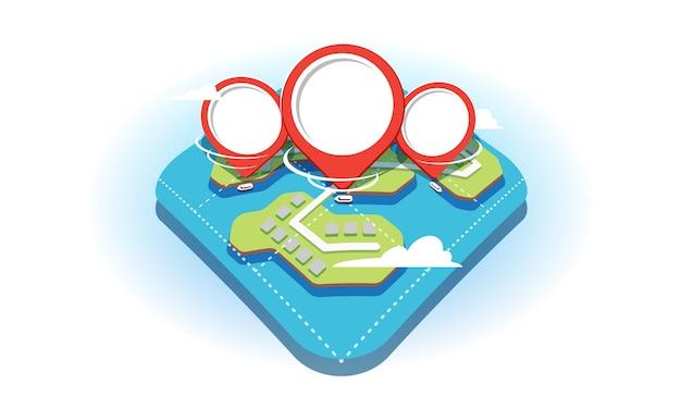 3d-vlakke stijlconcept met een fragment van de geografische kaart en rode navigatiepinnen erop. pinnen tonen het beschikbare watertransport in de vijvers op de kaart.