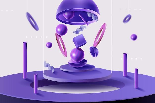 3d-vormen realistische achtergrond
