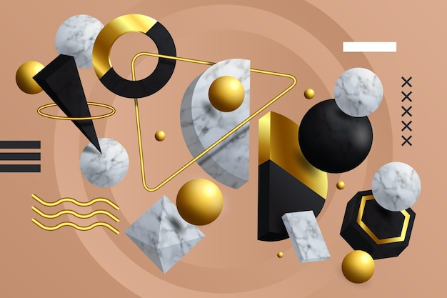 3d-vormen zwevende achtergrond realistische stijl