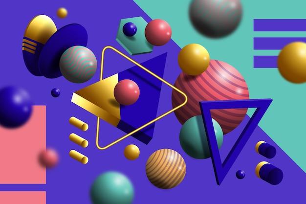 3d-vormen zwevende achtergrond
