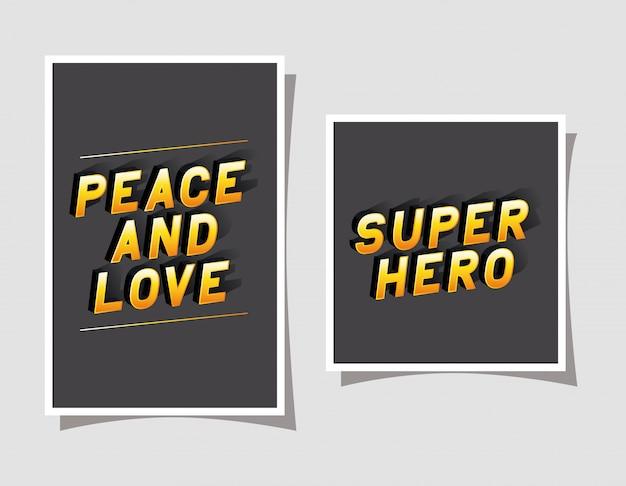 3d vrede en liefde en superheld belettering op een grijze achtergrond