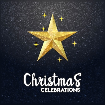 3d vrolijke kerstmis gloeiende achtergrond van ster