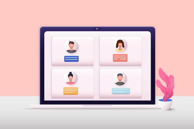 3d-webillustraties teleconferentie webvideoconferentie