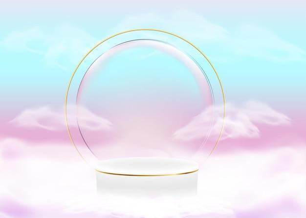 3d-weergave abstracte vormen pasteltinten gradiënten luxe podium voor uw ontwerp met witte wolken