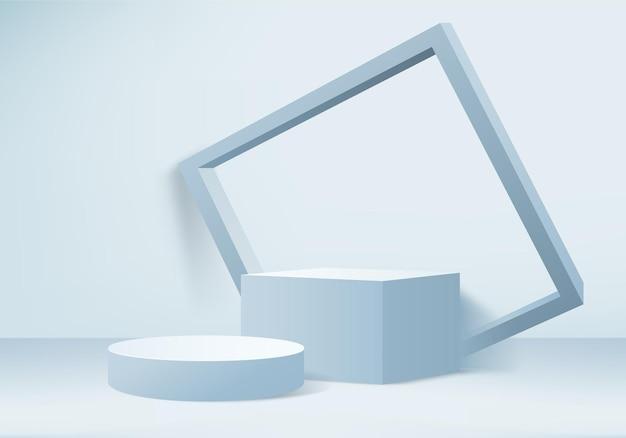 3d-weergave product abstracte minimale scène met geometrische podium platform cilinder achtergrond 3d-rendering met podium stand, stage showcase op voetstuk 3d blauwe studio