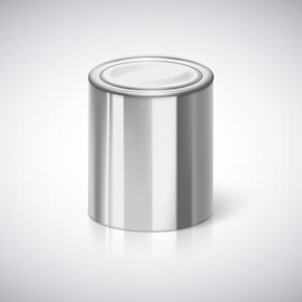 3d-weergave van een metalen tin