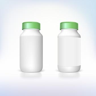 3d-weergave van flessen voor voedingssupplementen en medicijnen