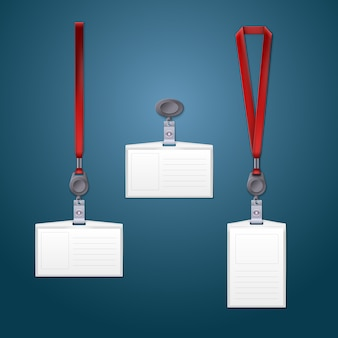 3d-weergave van lanyard-, oprolmechanisme- en badgesjablonen