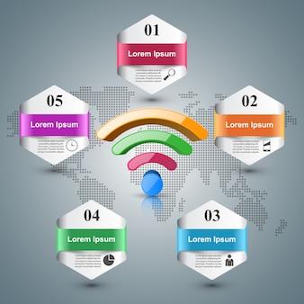 3d wi-fi pictogram op de grijze achtergrond.