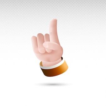 3d wijsvinger omhoog of één teken op een witte transparante achtergrond gratis vector