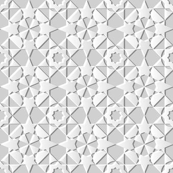 3d witboekkunst islamitische geometrie dwarspatroon naadloze achtergrond, stijlvol decoratiepatroon.