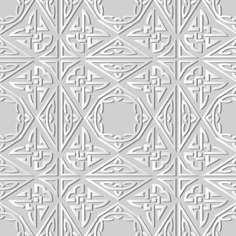 3d-witboekkunst triangle polygon aboriginal cross frame chain, stijlvol decoratiepatroon.