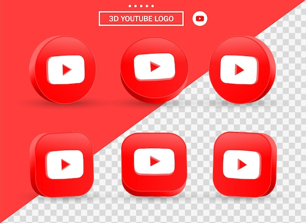 3d-youtube-logo in moderne cirkel en vierkant voor logo's van sociale media-pictogrammen