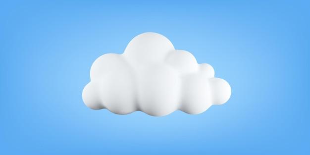 3d-zachte katoenen cartoon wolk geïsoleerd op blauwe achtergrond. realistische bellenwolk of schattige cirkelvormige rook. vectorillustratie van 3d-weergave van pluizige cumulus mist.