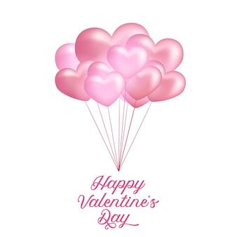 3d-zachte roze vliegende hartvorm ballon voor valentijnsdag wenskaart