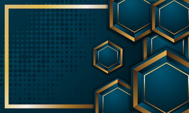 3d zeshoek sjabloon. vector abstract grafisch ontwerp. dot patroon. blauwe achtergrond