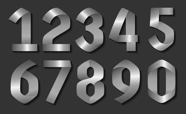 3d-zilveren nummers instellen