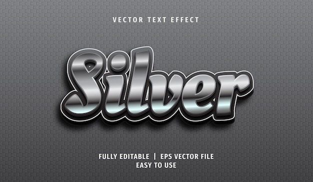 3d zilveren teksteffect, bewerkbare tekststijl