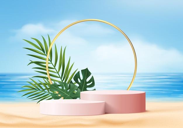 3d zomer achtergrond product display scène met bladeren. witte podiumvertoning op strand in zee