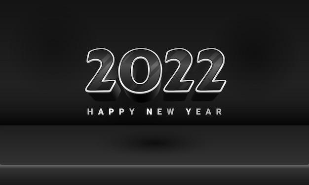 3d zwart zilver luxe 2022 gelukkig nieuwjaar banner podium