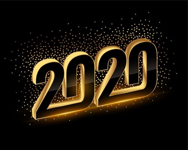 3d zwarte en gouden gelukkige nieuwe jaar 2020 achtergrond
