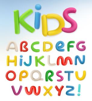 3dlastisch lettertype. kinderen en school set