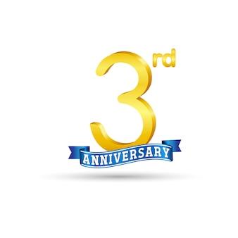 3e gouden verjaardagslogo met blauw lint geïsoleerd op een witte achtergrond. 3d-gouden 3e verjaardagslogo