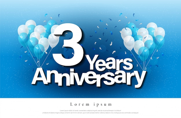 3e jaar jubileum wenskaart belettering