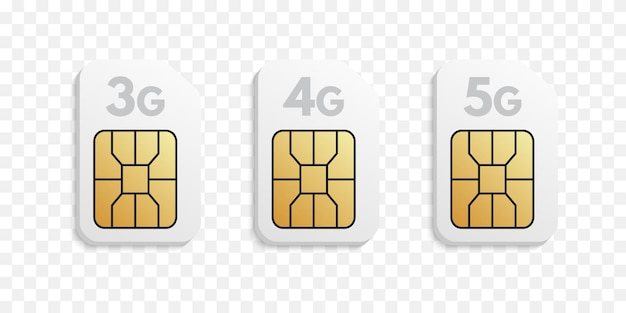3g-, 4g-, 5g-simkaarttypen.