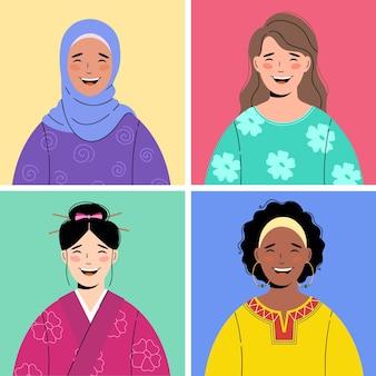 4 diverse mooie gelukkig lachende vrouwen avatar iconen. rassen en nationaliteiten diversiteit, multiculturele, multi-etnische vrouwelijke karakters collectie. vector.