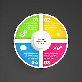 4 elementen elegante moderne infographic