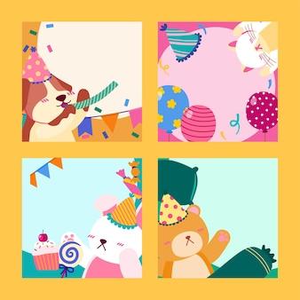4 feestbeesten viering cartoon illustraties