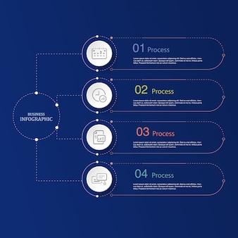 4 gegevens, lijn infographic