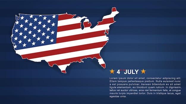 4 juli achtergrond voor de dag van de onafhankelijkheid van de vs (verenigde staten van amerika) met blauwe achtergrond en amerikaanse vlag. vector illustratie. Premium Vector
