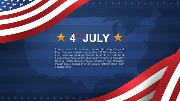 4 juli achtergrond voor de dag van de onafhankelijkheid van de vs (verenigde staten van amerika) met blauwe achtergrond en amerikaanse vlag. vector illustratie.