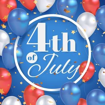 4 juli amerikaanse onafhankelijkheidsdag achtergrond met cirkelframe en metalen ballonnen