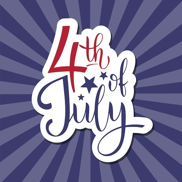 4 juli. amerikaanse onafhankelijkheidsdag. elementen voor uitnodigingen, posters, wenskaarten. t-shirt ontwerp