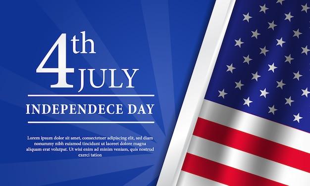 4 juli amerikaanse onafhankelijkheidsdag flyer sjabloon met vlag