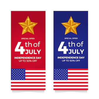 4 juli amerikaanse onafhankelijkheidsdag flyer verkoopaanbieding banner met vlag en ster