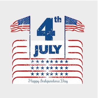 4 juli amerikaanse onafhankelijkheidsdag met vlaggen