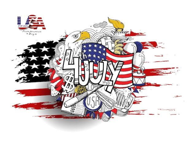 4 juli - amerikaanse vlag met eagel independence day, hand getrokken schets vectorillustratie.